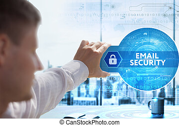 Business, Technology, Internet and network concept. Young businessman looks on a tablet, smart phone of the future. He sees the inscription: Email security