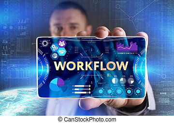 Business, Technology, Internet and network concept. Young businessman showing a word in a virtual tablet of the future: Workflow