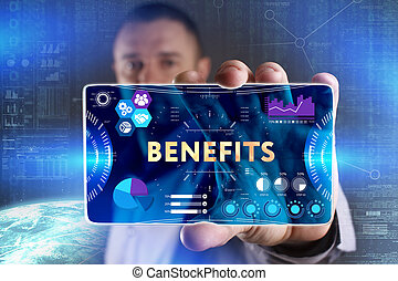 Business, Technology, Internet and network concept. Young businessman showing a word in a virtual tablet of the future: Benefits