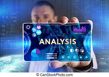 Business, Technology, Internet and network concept. Young businessman showing a word in a virtual tablet of the future: Analysis