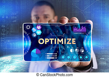 Business, Technology, Internet and network concept. Young businessman showing a word in a virtual tablet of the future: Optimize