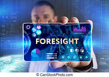 Business, Technology, Internet and network concept. Young businessman showing a word in a virtual tablet of the future: Foresight