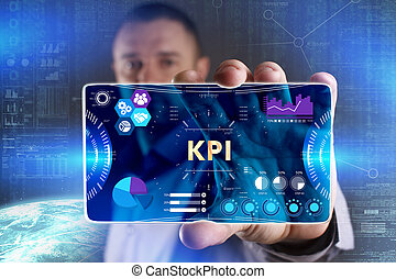 Business, Technology, Internet and network concept. Young businessman showing a word in a virtual tablet of the future: KPI