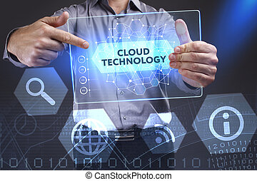 Business, Technology, Internet and network concept. Young businessman showing a word in a virtual tablet of the future: Cloud technology