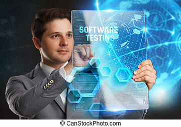 Business, Technology, Internet and network concept. Young businessman showing a word in a virtual tablet of the future: Software testing