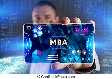 Business, Technology, Internet and network concept. Young businessman showing a word in a virtual tablet of the future: MBA