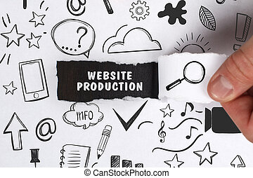 Business, Technology, Internet and network concept. Young businessman shows the word: Website production