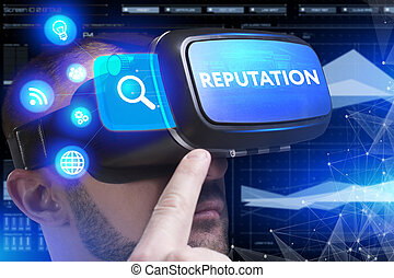 Business, Technology, Internet and network concept. Young businessman working in virtual reality glasses sees the inscription: Reputation