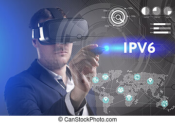 Business, Technology, Internet and network concept. Young businessman working in virtual reality glasses sees the inscription: IPv6