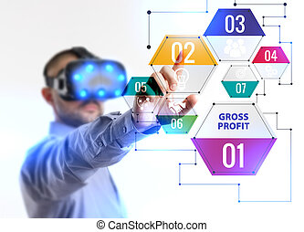 Business, Technology, Internet and network concept. Young businessman working in virtual reality glasses sees the inscription: Gross profit
