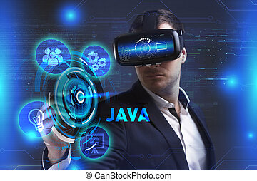 Business, Technology, Internet and network concept. Young businessman working in virtual reality glasses sees the inscription: Java