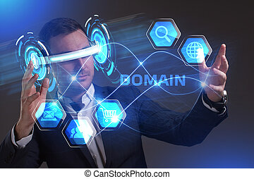 Business, Technology, Internet and network concept. Young businessman working in virtual reality glasses sees the inscription: Domain
