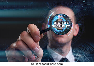 Business, Technology, Internet and network concept. Young businessman working on a virtual screen of the future and sees the inscription: digital security