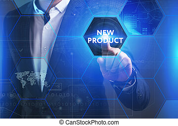 Business, Technology, Internet and network concept. Young businessman working on a virtual screen of the future and sees the inscription: New product