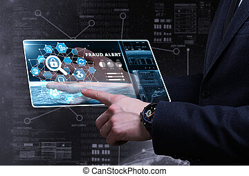 Business, Technology, Internet and network concept. Young businessman working on a virtual screen of the future and sees the inscription: fraud alert