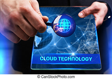Business, Technology, Internet and network concept. Young businessman working on a virtual screen of the future and sees the inscription: Cloud technology