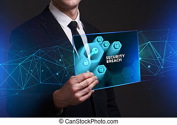 Business, Technology, Internet and network concept. Young businessman working on a virtual screen of the future and sees the inscription: Security breach