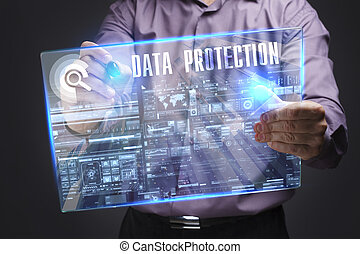 Business, Technology, Internet and network concept. Young businessman working on a virtual screen of the future and sees the inscription: Data protection