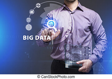 Business, Technology, Internet and network concept. Young businessman working on a virtual screen of the future and sees the inscription: Big data