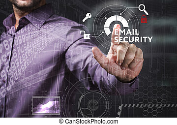 Business, Technology, Internet and network concept. Young businessman working on a virtual screen of the future and sees the inscription: Email security