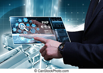 Business, Technology, Internet and network concept. Young businessman working on a virtual screen of the future and sees the inscription: PHP