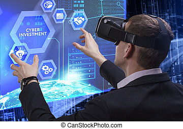 Business, Technology, Internet and network concept. Young businessman working on a virtual screen of the future and sees the inscription: Cyber investment