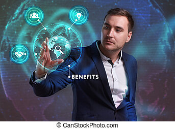 Business, Technology, Internet and network concept. Young businessman working on a virtual screen of the future and sees the inscription: Benefits