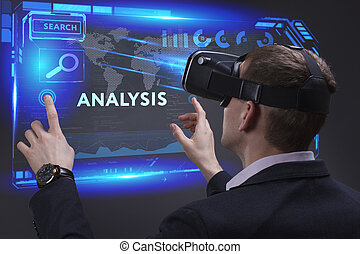Business, Technology, Internet and network concept. Young businessman working on a virtual screen of the future and sees the inscription: Analysis