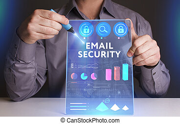 Business, Technology, Internet and network concept. Young businessman working on a virtual screen of the future and sees the inscription: ?mail security