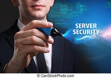 Business, Technology, Internet and network concept. Young businessman working on a virtual screen of the future and sees the inscription: Server security