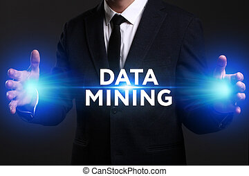 Business, Technology, Internet and network concept. Young businessman working on a virtual screen of the future and sees the inscription: Data mining