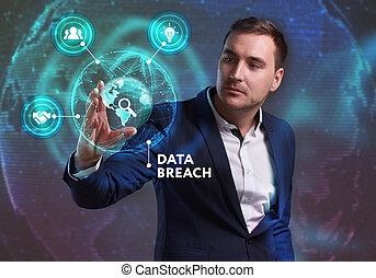 Business, Technology, Internet and network concept. Young businessman working on a virtual screen of the future and sees the inscription: Data breach