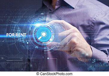 Business, Technology, Internet and network concept. Young businessman working on a virtual screen of the future and sees the inscription: for rent