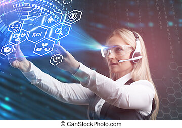 Business, Technology, Internet and network concept. Young businessman working on a virtual screen of the future and sees the inscription: ROI.