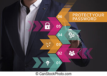 Business, Technology, Internet and network concept. Young businessman working on a virtual screen of the future and sees the inscription: Protect your password