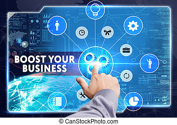 Business, Technology, Internet and network concept. Young ...