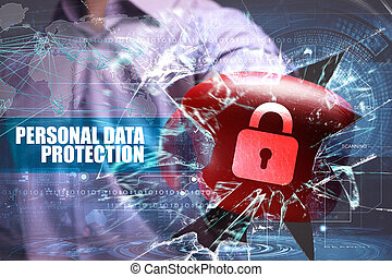 Business, Technology, Internet and network security. personal data protection