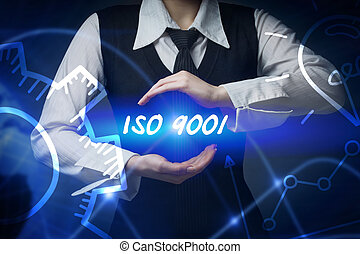 Business, technology, internet and networking concept. Business woman chooses icon - ISO 9001