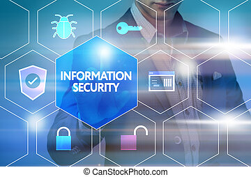 Business, technology, internet and networking concept. Businessman presses a button on the virtual screen: Information security