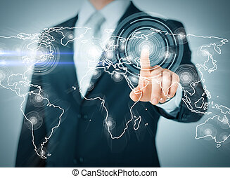 businessman pressing button with contact - business,...