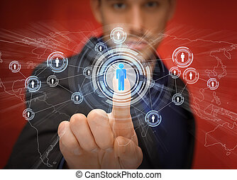 businessman pressing button with contact