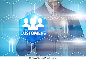business, technology, internet and networking concept - businessman pressing customer satisfaction button on virtual screens