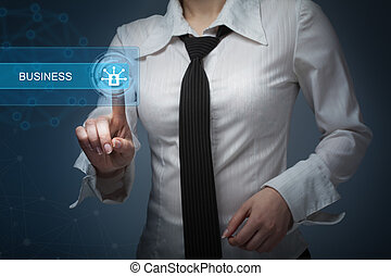 business, technology, internet and networking concept - businesswoman pressing  button on virtual screens