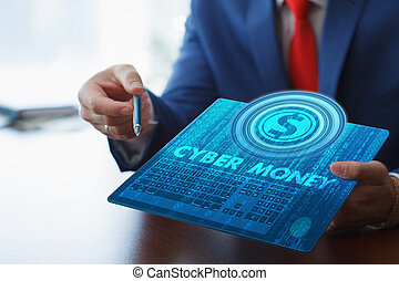 Business, technology, internet and networking concept. Young businessman working on his tablet in the office, select the icon cyber money on the virtual display.