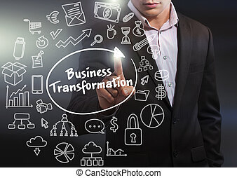 Business, Technology, Internet and network concept. Business man working on the tablet of the future, select on the virtual display: business transformation