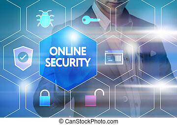 Business, technology, internet and networking concept. Businessman presses a button on the virtual screen: Online security