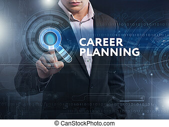 Business, Technology, Internet and network concept. Business man working on the tablet of the future, select on the virtual display: career planning