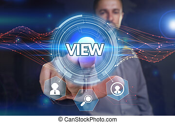 Business, Technology, Internet and network concept. Young businessman, select on the virtual display: view