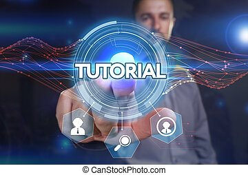 Business, Technology, Internet and network concept. Young businessman, select on the virtual display: tutorial