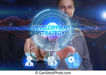 Business, Technology, Internet and network concept. Young businessman, select on the virtual display: development strategy